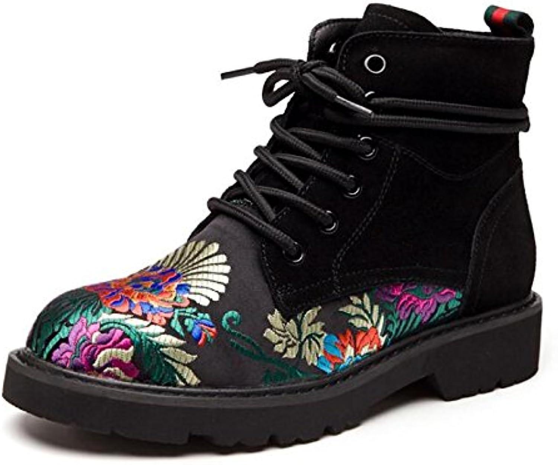 ZHZNVX HSXZ Zapatos de Mujer Cuero auténtico Cuero de Nubuck Primavera Otoño Comodidad Combatir Botas Botas Planas...