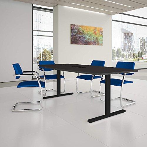 Weber Büro EASY Konferenztisch Bootsform 200x100 cm Anthrazit mit Elektrifizierung...