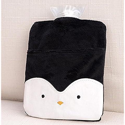 New day-Acqua portatile a filo acqua calda sveglio del fumetto mano calda bambini piccolo palazzo calda flanella caldo acqua borsa , penguins , 14*21cm