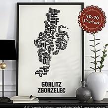 Görlitz Zgorzelec Buchstabenort Schwarz auf Naturweiß
