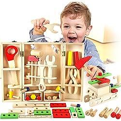 Buyger Boîte à Outils en Bois Jouet Bricolage Construction Jeu d'imitation Charpentier Cadeau pour Enfants