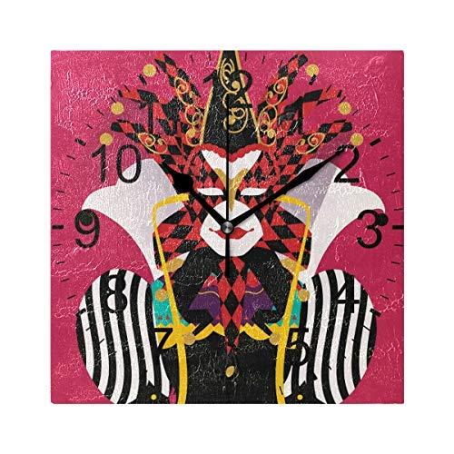 Ca565urs Kostüm-Joker-Wanduhr aus Holz, quadratisch, für Wohnzimmer, Küche, Schlafzimmer, Büro, Schule, Rot (Einfache Schule Kostüm)
