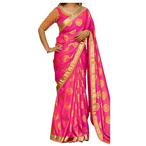 Livas Fashion Silk Jacquard Saree With Blouse Piece (Pink)