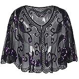 kayamiya Damen Abend Schal Wraps 20er Jahre Pailletten Perlen Cape Cover Up Violett