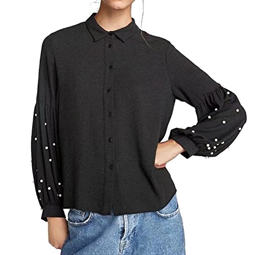 Juleya Donna Manica Lunga Camicetta - Moda Perle Decorate Shirt con Turn-Down Colletto Autunno e Primavera Casual Loose Elegante Tops Pullover Nero S-XL Nero