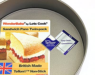 WonderBake Sandwich Cake Tins, Set of 2, Loose Base 8 Inch, Teflon ®TM Non Stick by Lets Cook