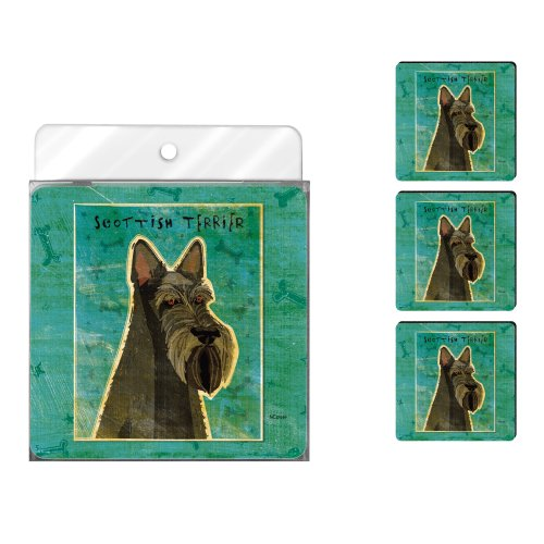 Tree-Free Greetings nc37999 John W. Golden 4er Pack Künstlerische Untersetzer Set, Scottish Terrier -