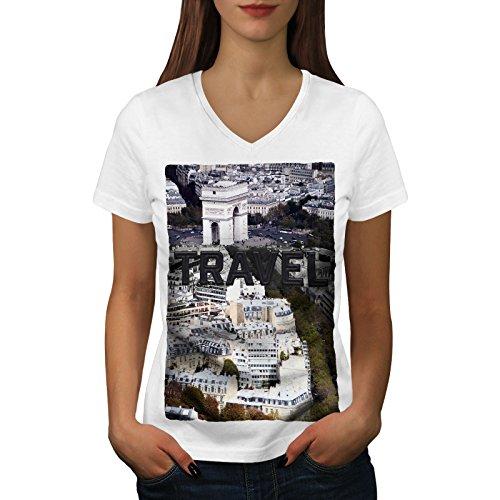 wellcoda Reise Paris Stadt Mode Frau V-Ausschnitt T-Shirt Reise Grafikdesign-T-Stück (Paris Center Stück)