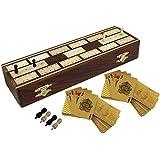 Gran conjunto único de pensión completa siete y medio - 2 mazos de naipes - sheesham hechos a mano en madera - 25,7 x 4,0 cm 8.1x