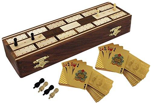 Grande unico set di pensione completa cribbage - 2 mazzi di carte da gioco - legno sheesham mano - 25.7 x 4.0 cm 8.1x