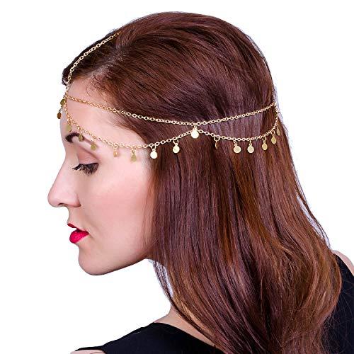 LEGITTA Damen Schmuck Gold Haarschmuck Paillette Hochzeit Schmuck Haarband Haarkette Lang Kette für Frauen Mädchen - Blume Zigeuner Kostüm
