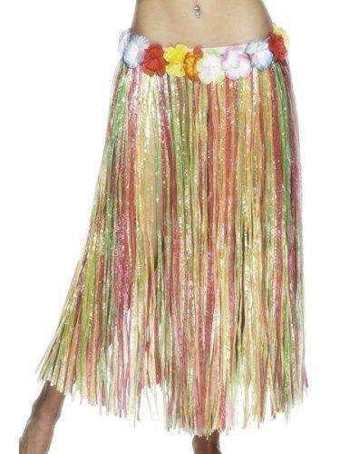 Damen lang Hawaiianisches Hula-Mädchen Blumenmuster Bastrock Maskenkostüm (79cm / 31