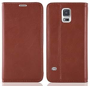 Galaxy S5 Hülle, JAMMYLIZARD Swiss Wallet Leder Flip Cover mit integriertem Magnetverschluss für Samsung Galaxy S5, BRAUN