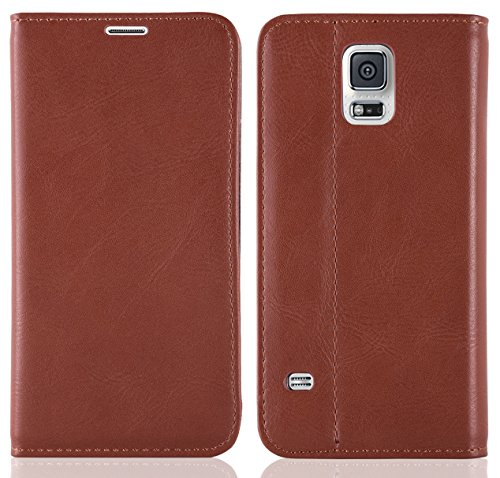 JAMMYLIZARD Lederhülle für Samsung Galaxy S5 / S5 Neo / S5 Plus | Handyhülle [ Swiss Book Case Wallet ] Ledertasche Flip Cover Hülle Leder Schutzhülle, Braun