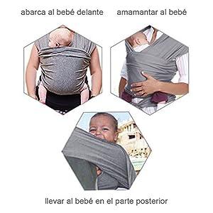Lictin Fular Portabebés Elástico Negro Portador de Bebé ;Pañuelo de algodón;Unisex;Para padres (Gris)