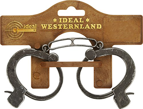 J.G.Schrödel Handschellen Antik: Kinder-Handschellen aus Kunststoff und Zink für Cowboy-Kostüme, mit Sicherheitshebel zum Öffnen, grau (709 7381)