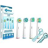 SoniWhite® 4 Pack Paquete de la variedad de FlossAction, 3D, Trizone y Flexisoft suave cabezas del cepillo compatible con asas cepillos de dientes eléctricos de Oral-B. Reemplazar SEB25 / SEB18 / SEB50 / SEB14. Totalmente compatible con Oral-B