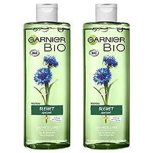 Garnier Bio Agua micelar limpiadora , Agua orgánica de aciano para piel y ojos sensibles – 400 ml – Juego de 2