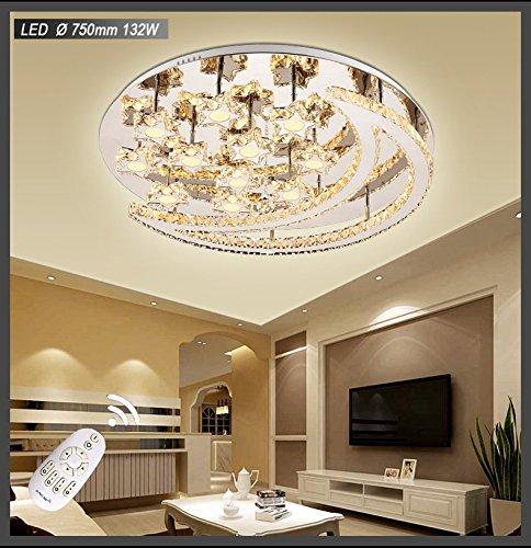 LED Deckenleuchte 3088LNB-750mm 132W mit Fernbedienung 3 Lichtfarbe einstellbar Kristalle 3*3cm ,Edelstahl, Acryl-Schirm LED Wohnzimmerleuchte Kronleuchte Pendelleuchte DeckenlampeDeckenstrahler LED Deckenleuchte Hängeleuchte Hängelampe LED lampe LED Leuchte Beleuchtung Einbauleuchte Wandleuchte Spot Lüster (Acryl-pendelleuchte)