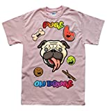 Pugs on Drugs Rose T-Shirt, Taille M