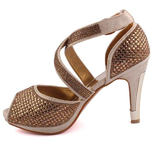 Unze Neue Damen Damen 'Elizza' Kristall Diamante Accentted Niedrige Mitte Stilettabsatz Abend, Hochzeit, Prom Party Sandalen Fersen Schuhe Größe 3-8 - 178-13 Gold