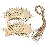 20 Stück Holz Sterne Handwerk Sternförmig Scheiben Holzsterne Verzierungen mit 10 Meter Faden für Weihnachten, Fertigkeiten, DIY