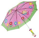 BINO 82793 | Kinderregenschirm im Fee Design | Farbe rosa | Mit Holzgriff | Für Kinder ab 3 Jahren | 70 x 70 x 65 cm