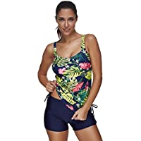 Lover-Beauty Women 50s Retro Two Piece Wireless Swimwear with Padded Summer Swimming Costume Tankini Set Swimsuit
