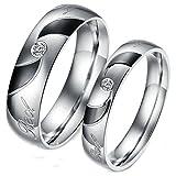 Edelstahl Damen Ringe Herren Ringe Paar Eheringe Trauringe Silber Schwarz Red Love Zirkonia Ringe & gratis gravur Damen 49 (15.6) & Herren 62 (19.7)