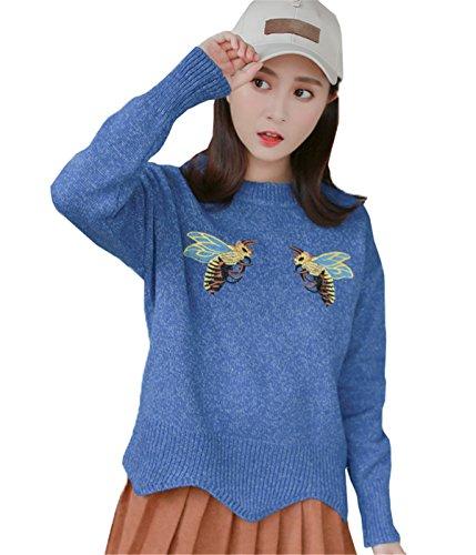 JOTHIN College Student Maglioni stampa animalier Ricamati Pullover Girocollo Casual Maglieria Manica lunga Basic Sweater Donna Blu
