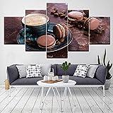rkmaster-Tela Pittura Happy Hour caffè Macaron 5 Pezzi Tela Arte Murale Pittura Carta da Parati Modulare Stampa Poster Decorazioni per La Casa