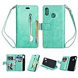 KANTAS Huawei P20 Lite Case Hülle, Brieftasche Flip Case mit 9 Kartenfächer PU Leder Handyhülle Taschenhülle Ledertasche mit Magnet Standfunktion Geldbeutel Schutzhülle mat Handseil, Minzgrün