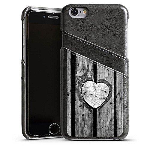 Apple iPhone 5 Housse Outdoor Étui militaire Coque Bois C½ur Saint-Valentin Étui en cuir gris