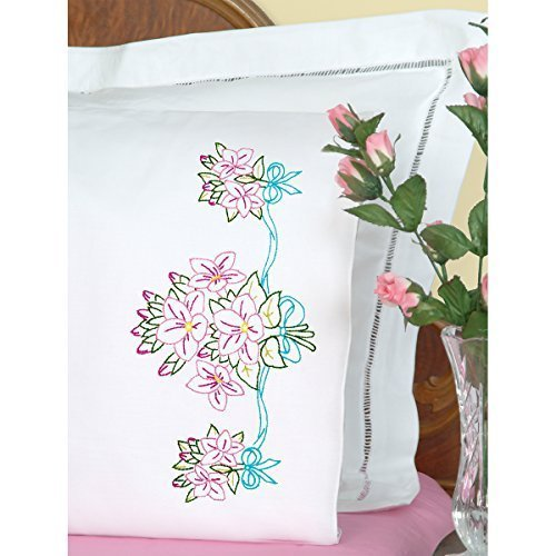Jack Dempsey Stamped Pillowcases with White Perle Edge, Star Flower Bouquet, 2-Pack by Jack Dempsey -
