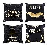 laamei Dekorativ Kissenbezug Weihnachten Gold Folie Druck Sehr Weich Merry Christmas Kissenhülle Drucken Färben Sofa Bett Home Decor Sofa Kissen Cover 45cmx45cm (45 * 45, Set*4 schwarz)