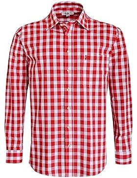 Almsach großkariertes Trachtenhemd Regular Fit in Rot