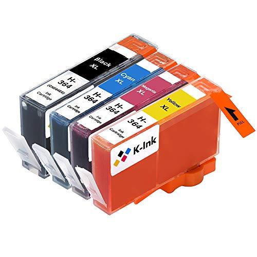 K-Ink kompatible Tintenpatronen Ersatz für HP 364 XL (5er Packung - 2 Schwarz, 1 Cyan, 1 Magenta, 1 Gelb) -