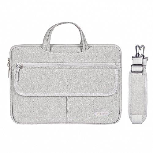 MOSISO Polyester Flapover Kompartiment Stil Laptop Schulter Aktenkoffer Messenger Bag Fall Kompatibel 13-13,3 Zoll MacBook Pro, MacBook Air, Notebook, Grau