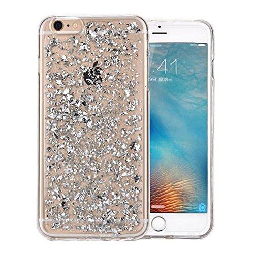 iphone 6Plus Glitzer Hülle,SUNAVY 2017 New Bling Ultra-Thin Weich TPU Abdeckung+Glitzer Blattgold 2-in-1 Luxuriös Schutzhülle für Apple6S plus,5.5zoll,Silber (Bling Cover Plus Iphone6)