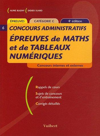 Epreuves de maths et de tableaux numéri...