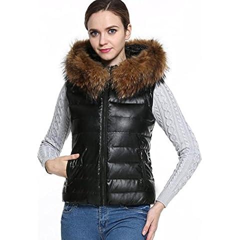 Koly T0602 damas algodón sin mangas con capucha de piel de cuello de chaleco chaqueta (M)