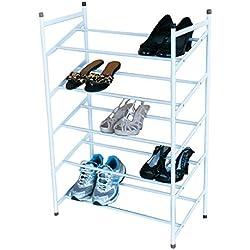 MSV MS221 - Estantería para Zapatos, 5 Niveles, Metal, Color Blanco