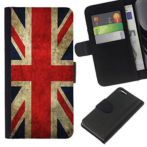 Graphic4You Vintage Uralt Flagge Von Slowakei Slowakisch Design Brieftasche Leder Hülle Case Schutzhülle für Apple iPhone 5C Uralt Vereinigtes Königreich UK Britisch Flagge