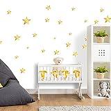 25 Sterne Wandtattoo fürs Kinderzimmer - Wandsticker Set - Pastell Farben, Baby Sternenhimmel zum Kleben Wandaufkleber Sticker Wanddeko - Wandfolie, Kleinkinder, Erstausstattung auf Rauhfaser Gold