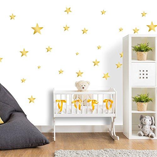 50 Sterne Wandtattoo fürs Kinderzimmer - Wandsticker Set - Pastell Farben, Baby Sternenhimmel zum Kleben Wandaufkleber Sticker Wanddeko - Wandfolie, Kleinkinder, Erstausstattung auf Rauhfaser Gold