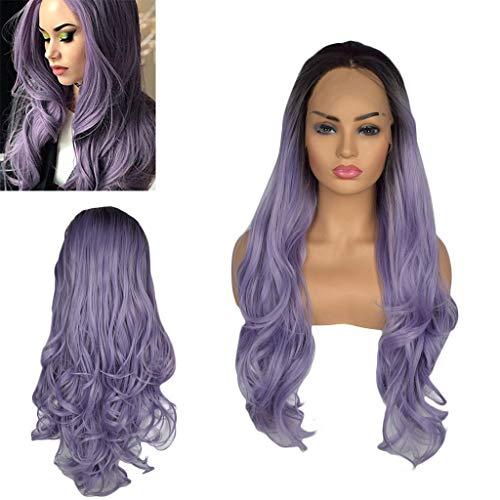 Solike Femmes Perruques Longues à Cheveux Ondulés Perruque Avec Lace devant Synthétique Résistant à la Chaleur des Femmes Cosplay Party Dégradé Noir Violet 24 ''