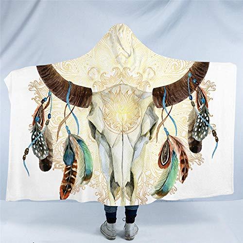 HGTZ Schädel Federn blau mit Kapuze Decke Tribal Sherpa Fleece tragbare Decke indischen böhmischen Floral grau Heimtextilien -