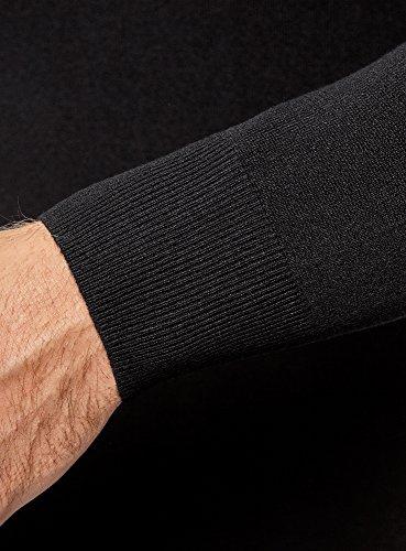 oodji Ultra Herren Viskose-Pullover Basic mit V-Ausschnitt Schwarz (2900N)