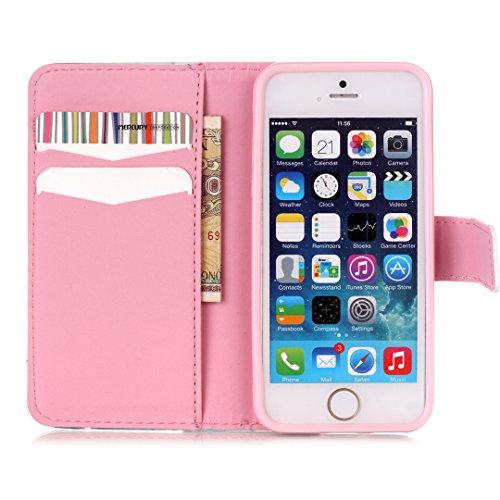 iPhone SE/5/5S Hülle im Bookstyle, Xf-fly® PU Leder Flip Wallet Case Schutzhülle für Apple iPhone SE/5/5S (4.0 Zoll) Tasche Handytasche mit Magnetverschluss Kartenfach Standfunktion Muster Handyhülle P-6