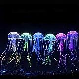 Danmu Art 6pcs 5 x 14 cm efecto fluorescente resplandeciente ornamento de medusa artificial para la decoración del acuario